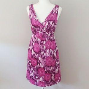 H & M Purple Floral Watercolor Dress Size 10